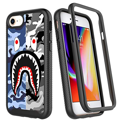 iPhone SE 2020 Case,iPhone 7 Case,iPhone 8 Case, Street Fashion Luxury Design Dual Layer Shockproof Rugged Cover Soft TPU + Hard PC Bumper Full-Body Cool Camo Case for iPhone 6/6s - Blue Gray Shark