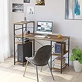 HOMECHO Mesa de Ordenador con 5 Estantes para Almacenaje Escritorio de PC con estanteria para Anfitrión de la computadora Escritorio de Computadora de Madera y Metal Vintage Marrón