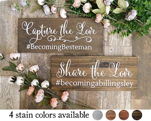 Ced454sy Hashtag Huwelijk Hout Tekenen Deel de Liefde Capture de Liefde Bruiloft Tafel Top Decor Tekenen