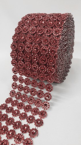 """Ben Collection 4"""" X 10 Yards (30 Feet) Flower Diamond Mesh Faux Rhinestone Ribbon Wrap for Wedding, Party, and Events Decoration (Burgundy)"""