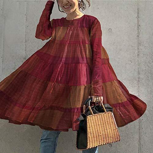 WDLZB Vestir Mujer,Plaid Reloj Bohemio Vintage Manga Larga Robe Mujer Baggy Cómoda Moda Chic Vestidos Playa Retro Casual Elegante Falda Regalo para La Novia, Rojo B, L