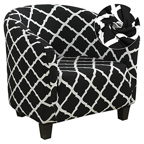 Souarts Sesselüberwürfe Sesselschoner Sesselhusse Sesselbezug Jacquard Elastisch Stretch Husse für Cafe Stuhl Sessel (Schwarz #01)