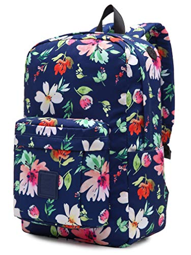 HotStyle 599s Floral School Backpack For Teen Girls, Water resistance & Durable Bookbag Cute for College, Watercolor flowers, Navy