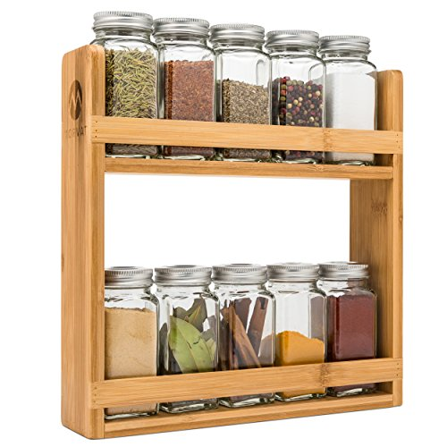 EMS Solid OAK Wood Spice Rack Organizer, 5 Tier Wall Mounted - Seasoning Storage for Pantry and Kitchen - Natural Finish (32.75