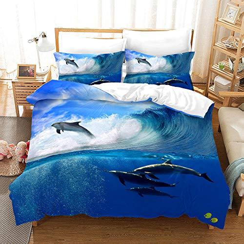 Bedclothes-Blanket Juego de Cama 150,Conjunto de colchas de impresión Digital 3D Tres Conjuntos de Almohadas con Capucha Conjunto de Dolphins Tortuga-3_230 * 220cm