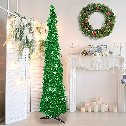 LYTIVAGEN 1,5 m Künstlicher Weihnachtsbaum Faltbarer Tannenbaum Grün Kunstbaum Weihnachten Dekobaum PVC Weihnachtsbaum Christbaum mit Pailletten für Weihnachten Dekoration