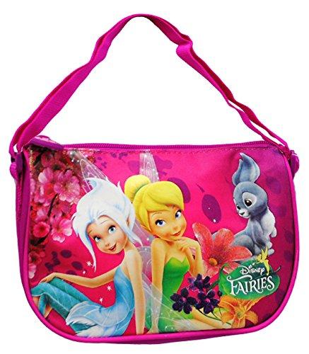 alles-meine.de GmbH 3-D Effekt Glitzer - Umhängetasche / Schultertasche -  Disney Fairies  - Kindertasche - Kindergartentasche - Tinkerbell Fairy - Elfen Schmetterlinge - Tasch..