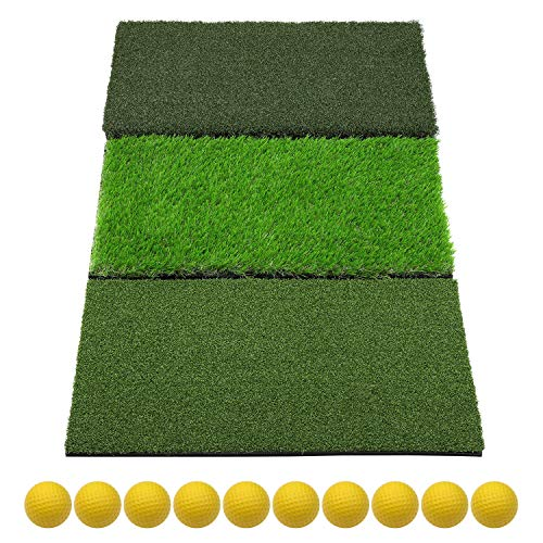 SkyLife 3-Turf Golf Hitting Grass Mat 16'' x 25'', Portable Training Fairway Rough TEE Turf, Driving Chipping Putting Golf Equipment, Home Backyard Garage Outdoor Practice (16'' X 25'')