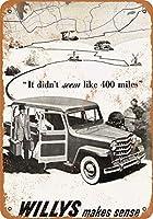 2個 8 x 12 cm メタル サイン - 1950 年ウィリス オートモービルズ メタルプレート レトロ アメリカン ブリキ 看板