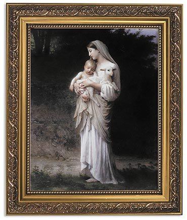 Elysian Gift Shop Innocence Blessed Mother Virgin Mary with Baby Jesus Christ 8' x 10' Catholic Framed Art Print-Wall Plaque- in Ornate Gold Finish Frame. (Includes Laminated Holy Card)