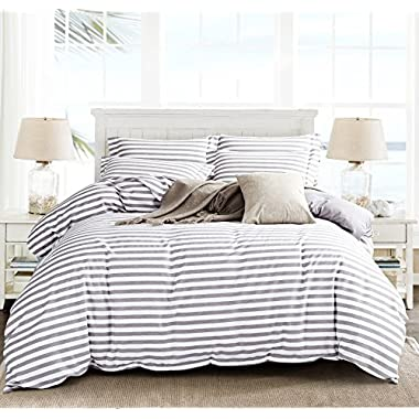 Microfiber Duvet Cover Set,Striped Duvet Cover,Contrast 2 Tone Reversible Design,Zipper Closure,King Grey 104 by 92 inch