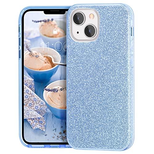 MATEPROX Custodia Brillantini Compatibile con iPhone 13 Cover Scintillante Cristallo Glitter Protettiva Covers per iPhone 13 6,1   2021-Blu