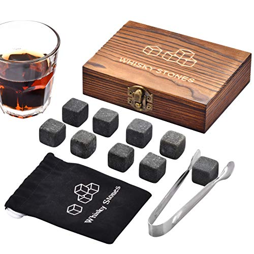 Whiskey Stones, Whiskey Stone Gift Set, 9 Granite Whisky Rocks, Burbon Gifts Cool Presents for Men Him Dad Husband Boyfriend, Unique Anniversary Birthday Fathers Day Wedding Gift Ideas - by Angde