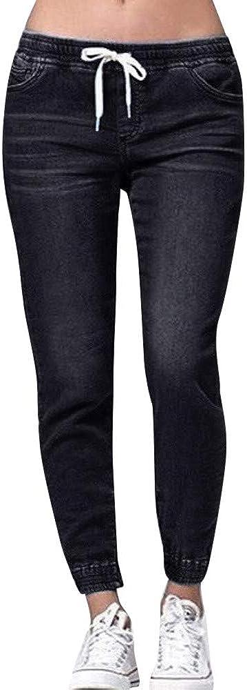 aihihe Womens Drawstring Elastic Waist Casual Loose Pants Jogger Denim Jeans