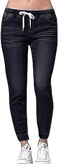 riou Pantalon Chandal Mujer Largos Tallas grandes Pantalones Vaquero con Cordón de Algodón Pantalones hasta la pantorrilla...