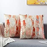 GREAGLE Pack of 2 Throw Pillow Covers Cases - Luxury Square Soft Decorative Cushion Covers for Sofa/Couch/Bed/Living Room/Chair/Home Decor Decorations, 18 x 18 (Red/HT-003)