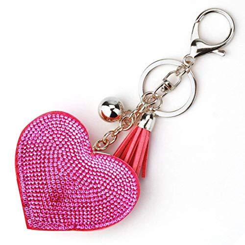 XIANGAI Exquisit Liebes-Herz-Schlüsselanhänger Frauen Strassperlen Schlüsselring Handtaschen-Anhänger Lange Quaste Schlüsselanhänger Schmuck