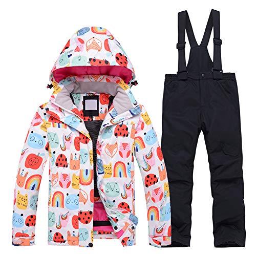 LPATTERN Kinder Jungen/Mädchen Snowboard & Skifahren Bekleidung Zweiteilig Skianzug Schneeanzug Outfit-Set Winddicht Wasserdicht (Skijacke+ Skihose), 662 Jacke+Schwarz, 146-152(Label:XL)