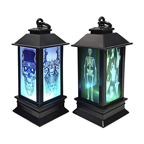 ZWJ-Fire Flame Fire Lights 2 Pack Halloween Lantern Party Hanging Decor LED Light Lamp Portable Nightlight, Simulation Flame Witch Skull Skeleton Hanging Flame Lamp, Halloween Home Bar Party Festival
