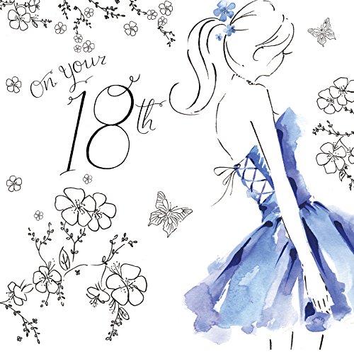 Twizler - Bigliettino d'auguri per 18° compleanno, per ragazze, con finitura in cristallo Swarovski, argentato, abito effetto acquerello