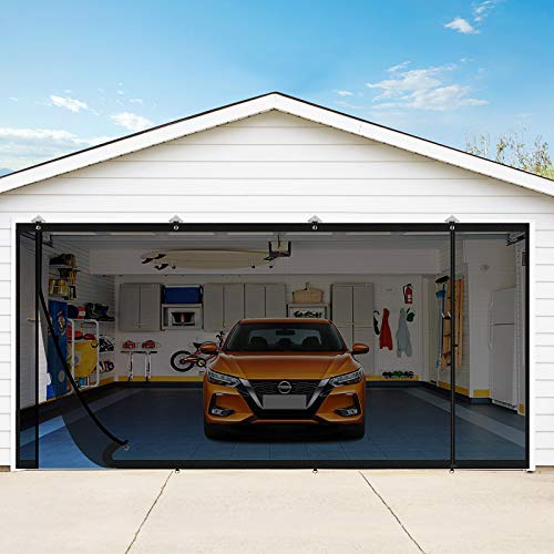 Yotache Magnetic Garage Screen Doors for 2car Garage 16x7 Ft, Double Garage Doors Mosquito Net Curtain with Magnets for Two Car