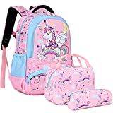 Kids Unicorn Backpack for Girls School Bookbag for Elementary 3 in 1 School Bag Sets with Lunch Tote Pencil Bag