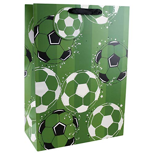 Clairefontaine 26910-1WC - Sacchetto di carta regalo XL GS 33 x 15 x 45,5 cm, motivo: calcio