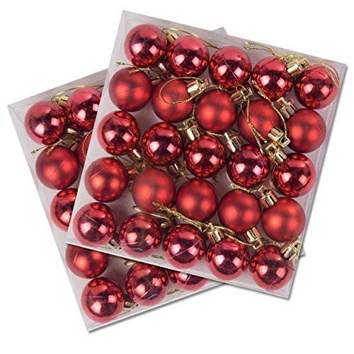 50 Stück Packung Miniatur glänzende & Matt Weihnachtsbaum Kugeln Rot