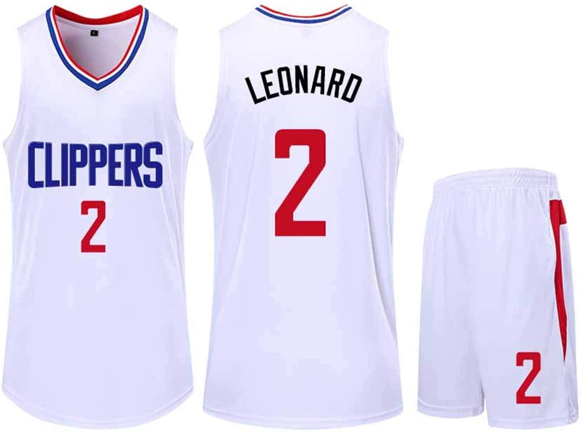 FRYP Clippers No. 2 Leonard Basketball Trikot, Athlete's Jersey Fan Sweatshirt Schnelltrocknendes Mesh Trikot, 3XS-5XL-Weiß-XS