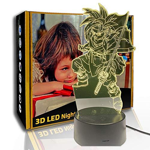 KangYD 3D Luz nocturna Anime Dragon Ball Warrior, lámpara de ilusión LED, F- Base de audio Bluetooth (5 colores), Arte Lámpara de noche, Lámpara moderna
