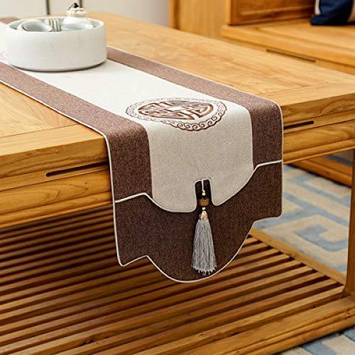 QXbecky Camino de Mesa Chino clásico Zen algodón y Lino Bordado Camino de Mesa paño de Lino Bandera de té Mesa de café Cubierta del gabinete de TV paño Toalla