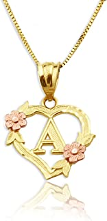 LoveBling 10K Yellow Gold Alphabet Initial Charm Necklace Pendant with Beautiful Heart and Rose Border (J)