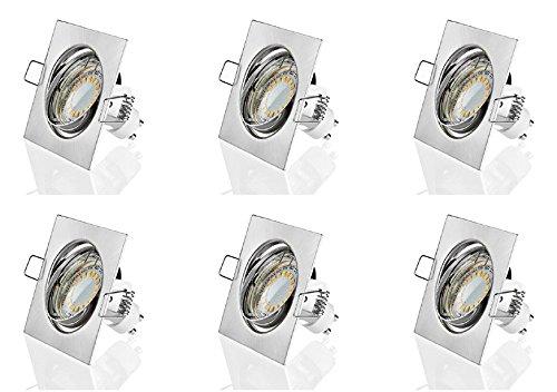 Sweet-LED Lot de 6 spots encastrables | 2 W | Boîtier carré (chrome brossé, blanc chaud)