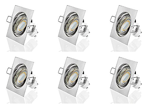 Sweet Led Spot Lot de 6 Set | 2 W | Boîtier carré Chrom gebürstet, Warmweiss
