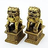 Foo chino perro león Fu bronce estatua par figuras Feng Shui...
