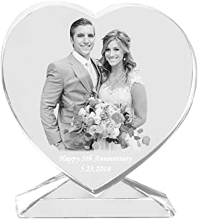 Qianruna Personalized Custom 2D Laser Photo Engraving Crystal Glass Heart with Stand,Best Gifts for Wedding and Anniversary