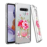 EnCASEs Phone Case for LG Stylo 6, TPU Slim Hybrid Shiny Silver Glitter Sparkle Fashion Perfume Flower Case, Shockproof Bumper Protection Cover