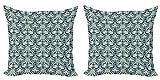 ABAKUHAUS Clásico Set de 2 Fundas para Cojín, Modelo de la Hoja de Estilo Victoriano, con Estampado en Ambos Lados con Cremallera, 40 cm x 40 cm, Verde Salvia Azul Oscuro