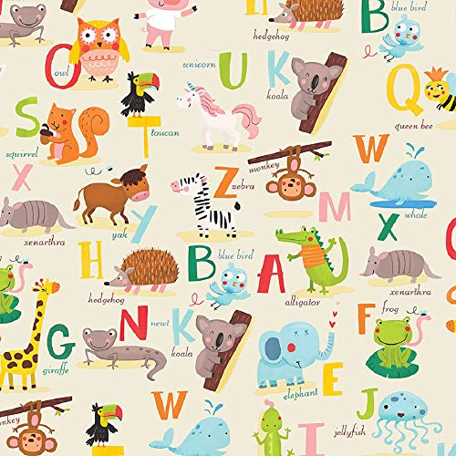 Alphabet Gift Wrapping Paper Flat Sheet - 24' X 6'