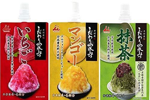 かき氷シロップ 井村屋 こだわりの氷みつ いちご マンゴー 抹茶 3種類 各150g 4〜6杯分