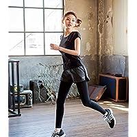 Acew(アクエ) ハートの刺繍がカワイイ レディース ランニングウェア ロングタイツ ショートパンツ セット 吸汗速乾 レギンス ヨガウェア フィットネス ダンス トレーニングウェア (L)