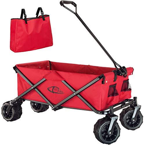 TecTake 800576 Chariot de Jardin Tout-Terrain, Max 80 kg, Pliable en Un Seul Geste - diverses Couleurs - (Rouge   n° 402913)