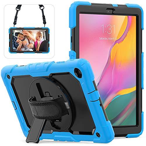 Custodia antiurto per Samsung Galaxy Tab A 2019 Tablet da 10.1 pollici SM-T510 SM-T515, supporto girevole a 360 gradi, cinturino da polso e tracolla regolabile TPU + scatola per PC(Blu)