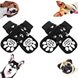 SCENEREAL Anti-Slip Dog Socks with Paw Pattern - Adjustable Velcro Pet Paw Protection for Puppy Indoor Wear, Traction Control On Hardwood Floor - L