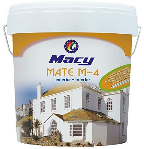 Pintura Plástica Mate M-4 Antimoho para Interior y Exterior con Certificado de Reacción al fuego y con Conservante Antimoho. 4 Litros. Color Blanco