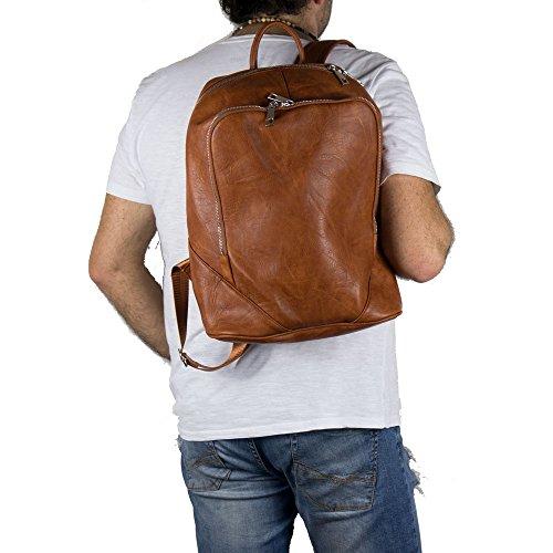 Zaino uomo business vintage lavoro viaggio scuola squadrato borsa a spalla università ufficio Cuoio