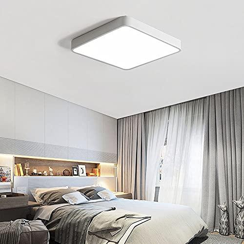 Lámpara de techo cuadrada blanca de metal 24W LED regulable con mando a distancia, sencilla iluminación de techo moderna para dormitorio, cuarto de baño, estudio, galería, cocina, 30 x 30 cm