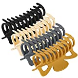 79Style Big Hair Claw Clips 4.7' 4pcs Nonslip Matte Jumbo Claw Clips For Thick Heavy Hair, Extra Large Jaw Clips Thick Hair Clips Hair Clamps Strong Hold Hair Barrette Jumbo Ponytail Holder Fashion Hair Styling Accessories For Women Girls (4.7 Inch -Neutral 4 Colors)