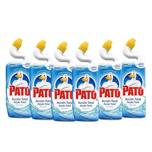 Pato - Wc Acción Total aroma Oceano, Limpiador para inodoro, limpia y perfuma, 750 ml - [Pack de 6]