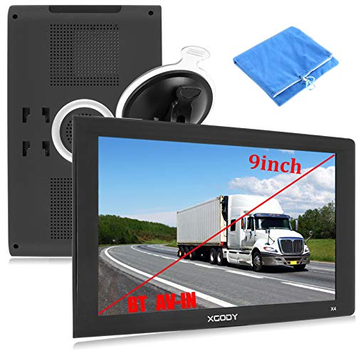 9inch Truck GPS Navigation for Car Big Touchscreen GPS Navigator Bluetooth AV-in Xgody 8GB ROM SAT NAV System Navigator Driving Alarm Lifetime map Updates